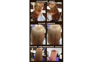 ОТЧЕТ № 49 мастер-класса ELGON на тему: смывка нежелательного оттенка волос + тонировка